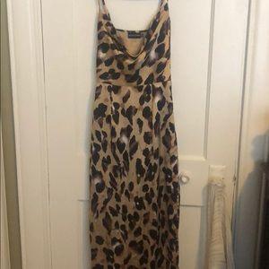 Satin leopard maxi dress